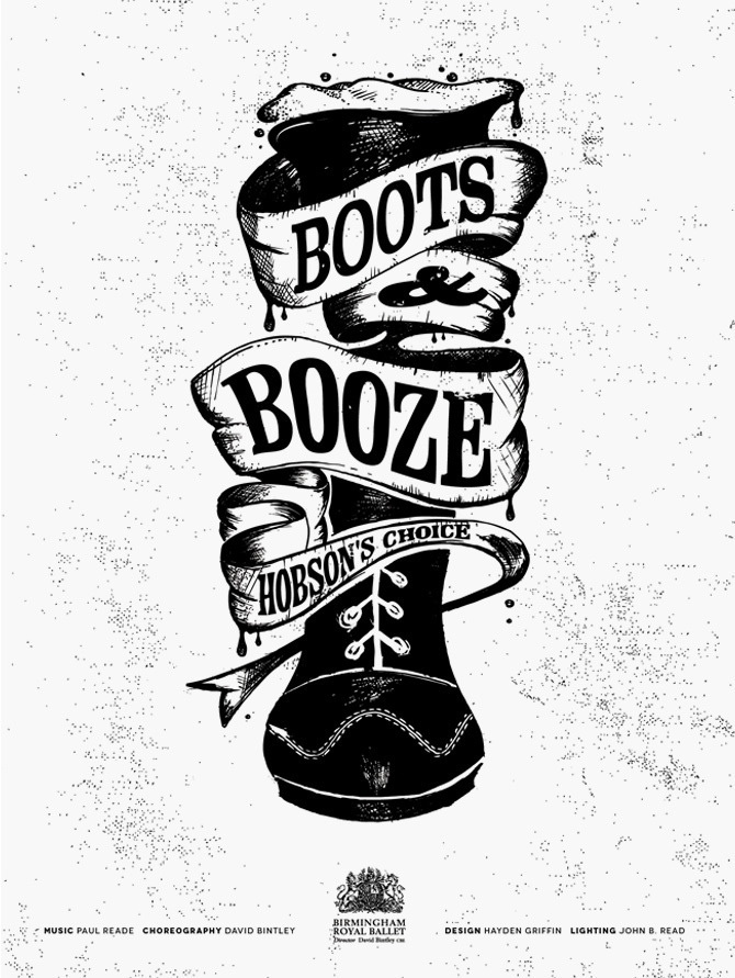 Boots & Booze – Illustrated print for Pointe Blank and the Birmingham Royal Ballet. #illustration #typography