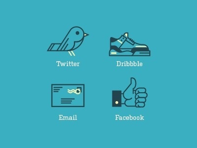 Dribbble - RA Contact Icons by Ryan Putnam #dribbble #icons #facebook #twitter #email #blue