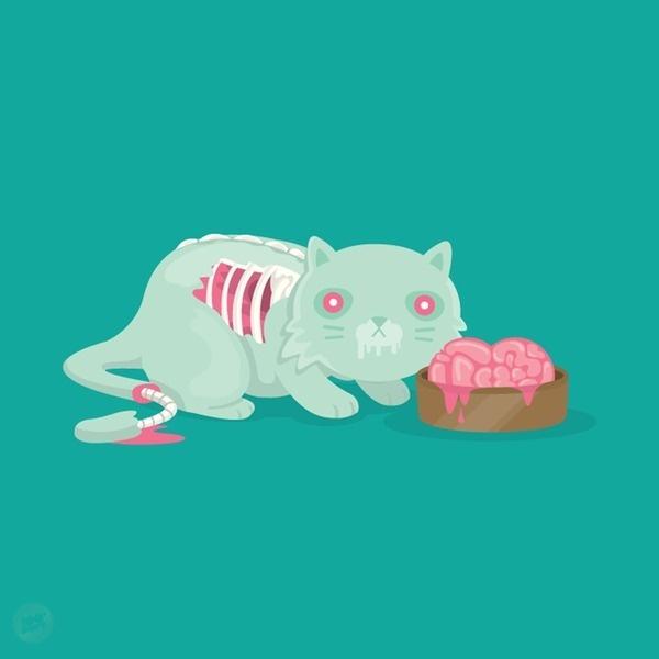 100percentsoft.com #vector #illustration #cats #zombies #humor