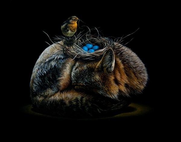 Fox and bird in animal surreal art #surrealism #realism #painting #paintings #art #animal