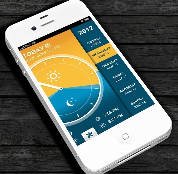 Interface design inspiration #weather #ui #app #gold #blue
