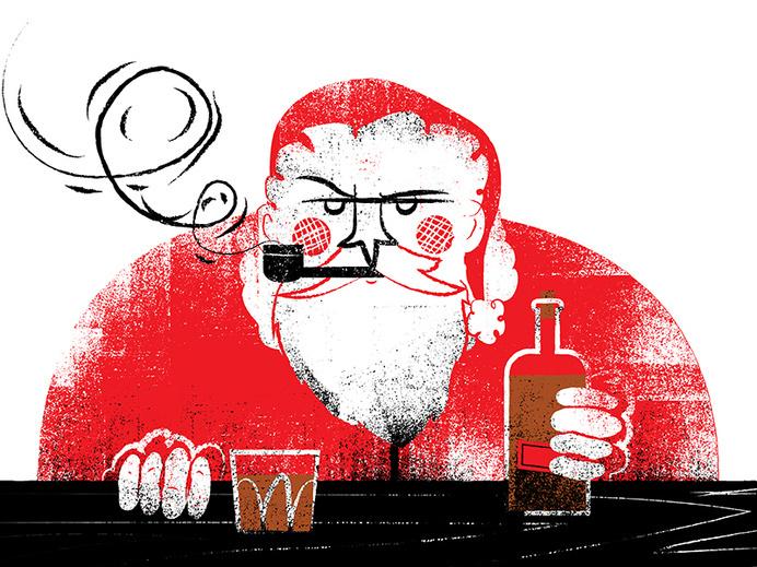 Santa w/whisky #illustration #whisky #santa