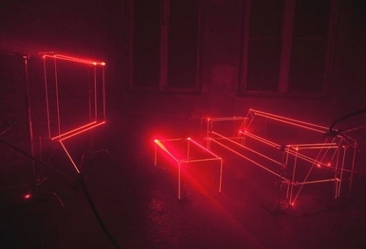 Design with lasers - Jared Erickson | Jared Erickson #red #couch #lasers #lights #design