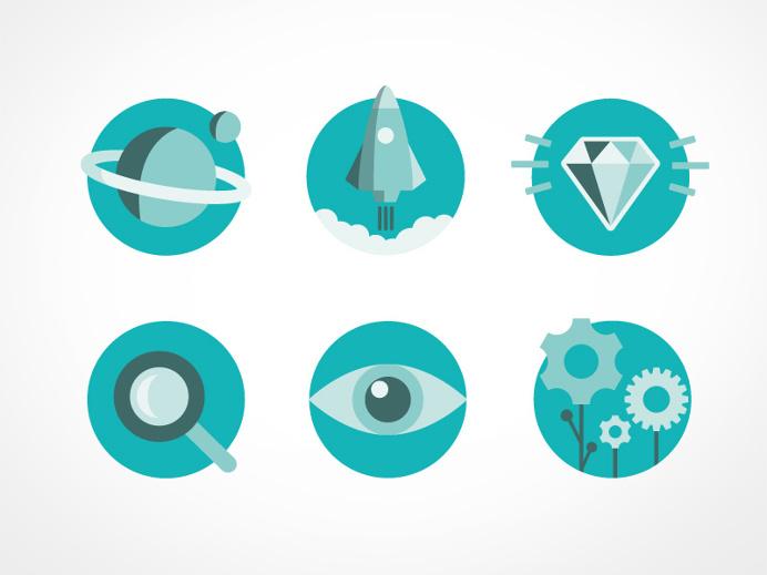 icons, icon set, graphic design, flat, spot on, caroline bergsten, eye, diamond, rocket, planet