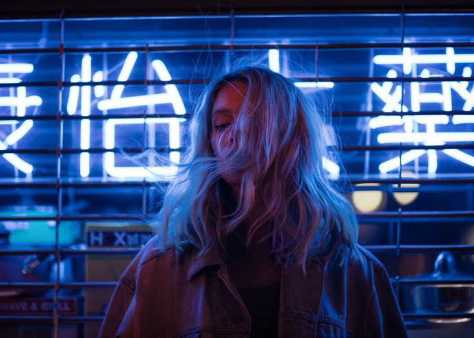 neon girl blue