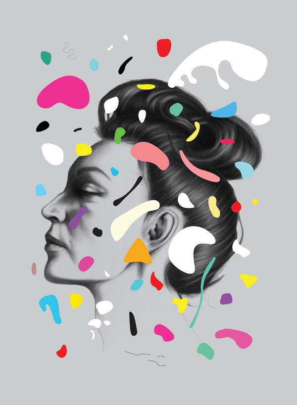 Gala - Oh Yeah Studio via Graphic Porn #design #head #paint #illustration #portrait #colour