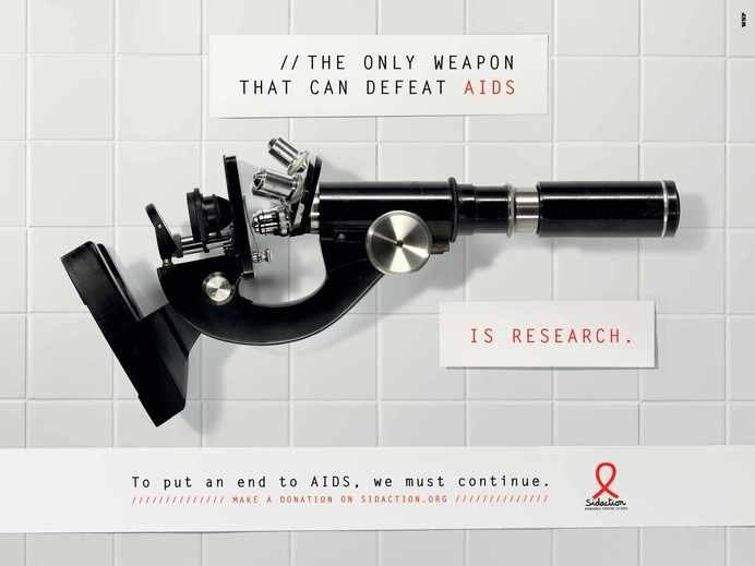 """""""The only weapon that can defeat AIDS is research."""" - WNP #advertising #AIDS"""