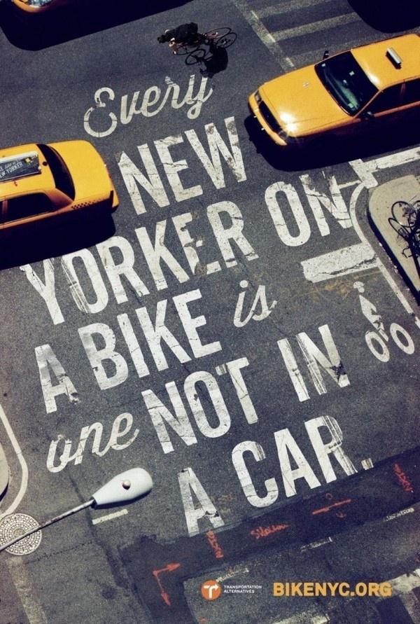 Bike Like a New Yorker4 #bicycle #typography #bike #street #york #nyc #new