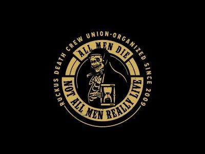 All men die #badge #ruckus #deathcrew #vintage #skull #edgarzilla #death