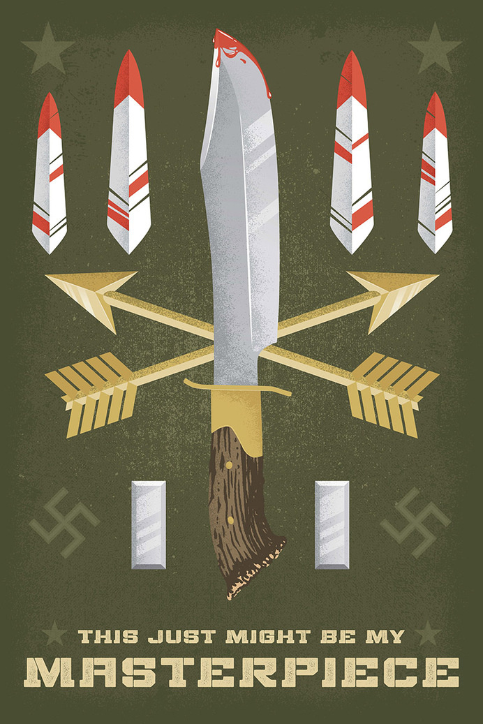Movie, Poster, Knife, Feather, Illustration, Arrows, Blood, WWII, Texture