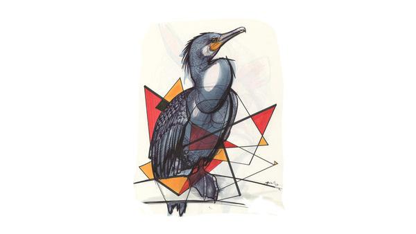 Illustrations by Okan Akgöl | LLGD.net #ink #red #markers #bird #illustration #gray #drawing