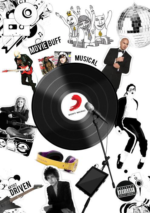 Sony Music Mood Board #moodboard #sony #vinyl #music #artist #collage #style #fashion