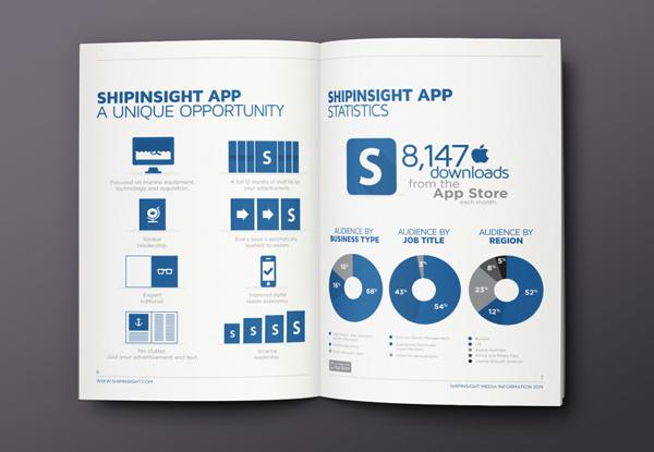 ShipInsight Media // Brochure on Behance #charts #graphics #infographics #print #infographic #graphic #icons #info #blue