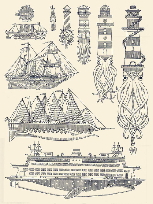 generallynautical:kylermartz:Whaleboats II Screenprint.2012.Kyler MartzLove it.Clever and beautiful prints by Kyler Martz. #illustration #sea #creature #nautical