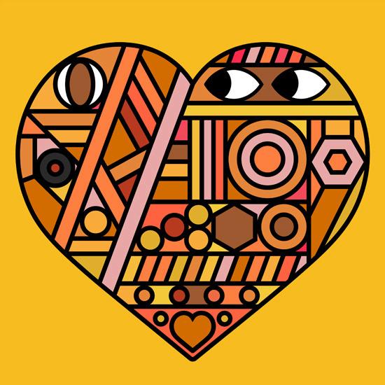 Onesidezero Illustration : Artwork by Brett Wilkinson #heart #yellow #brett #onesidezero #poster #wilkinson