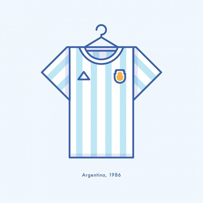 Argentina World Cup Winning Football Kit 1986 - Minimal Illustration by Lucas Jubb