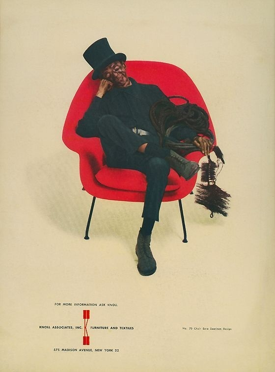 This classic #Saarinen Womb chair advertisement by Herbert Matter ran in the New Yorker for years.