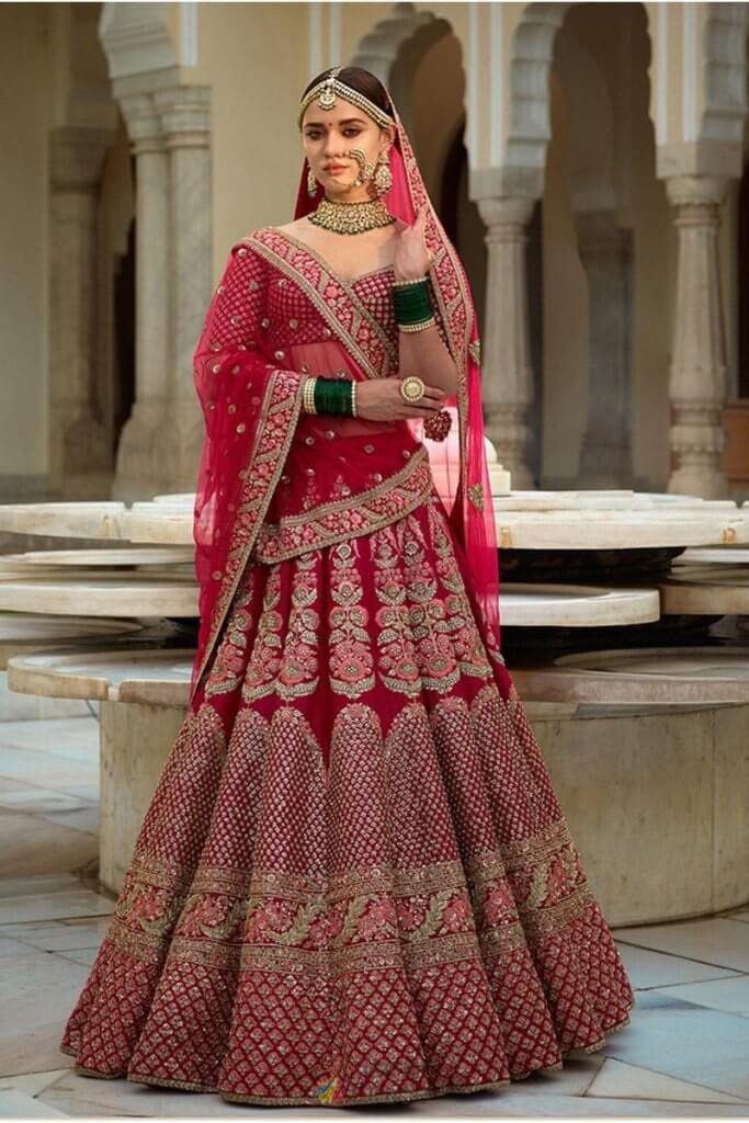 pink shade bridal lehenga