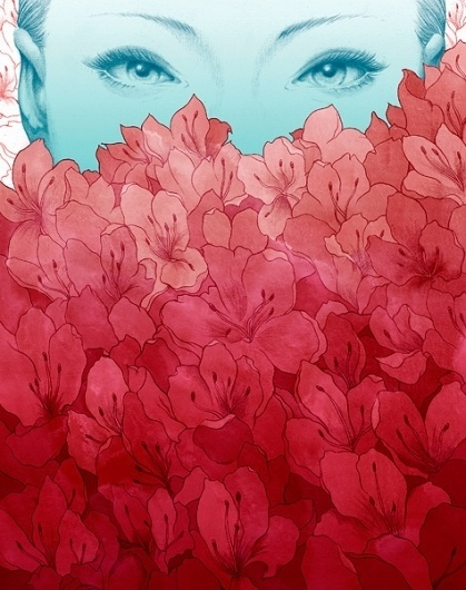EK Interview: Yuta Onoda   EMPTY KINGDOM You are Here, We are Everywhere #red #woman #illustration #blue #flowers
