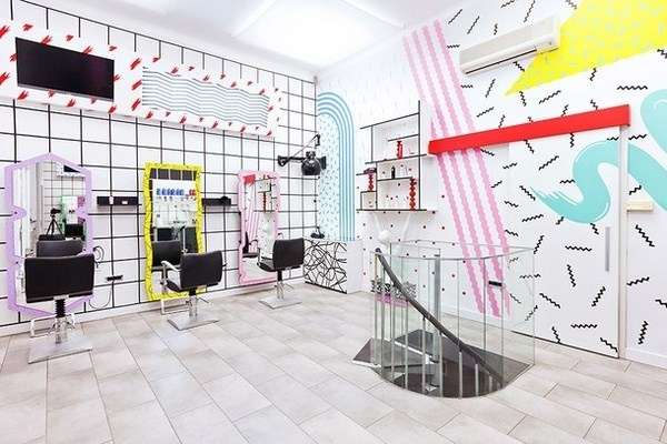 YMS With Artistic Interior And Postmodern Graphics #interior #salon #modern  #youthful #