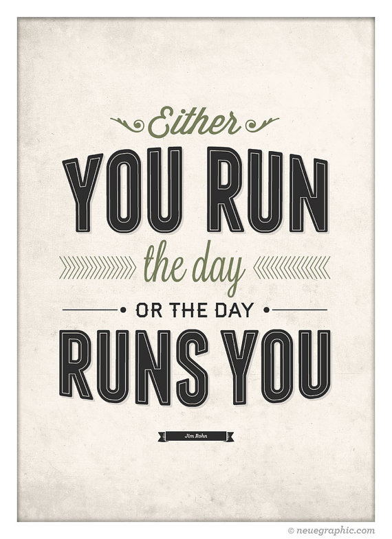 """Motivation """"Run The Day"""" Wall Art by NeueGraphic #quote #print #design #neuegraphic #etsy #poster #typography"""
