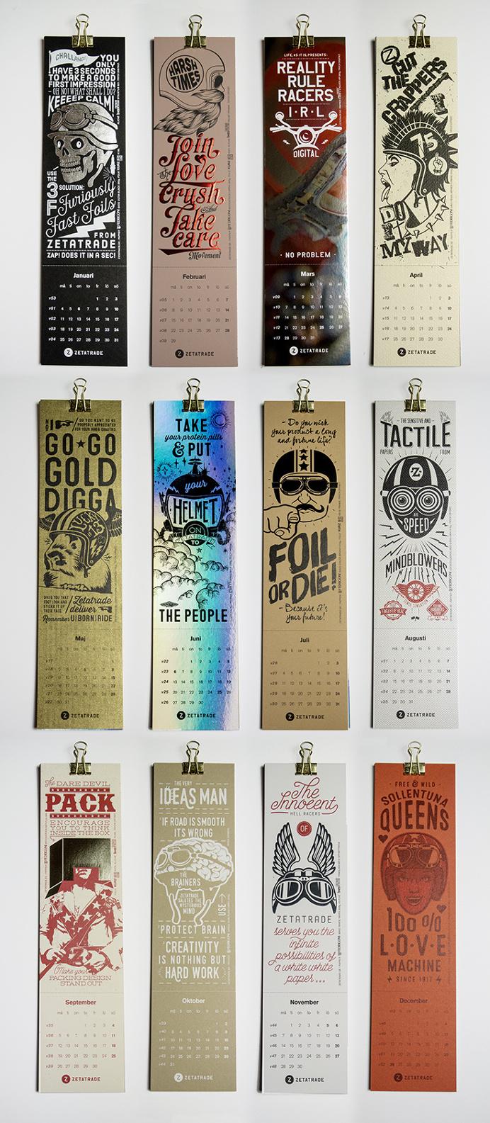 Calender, foil, typography, embossing, illustration