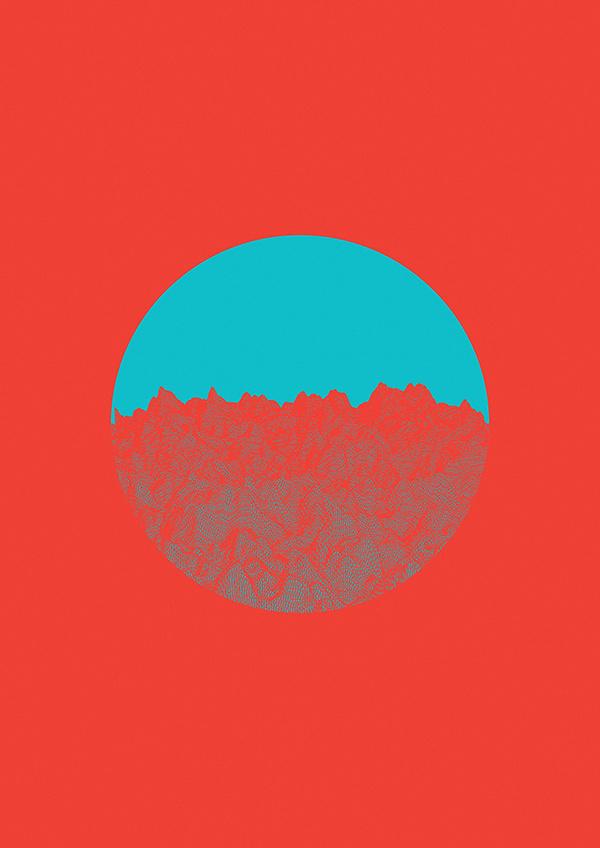 generative gestaltung 1.01 #mountain #red #generative #cyan #flyer #design #wireframe #poster #gestaltung