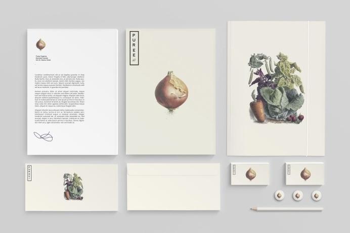 Puree branding & packaging by Studio Ahamed #old #look #clean #illustration #vegetable #logo