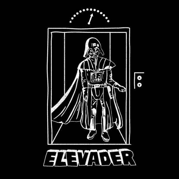 Elevader Tshirt by Michael HolmesEven Darth Vader has to use common transportation sometimes. #design #graphic #tshirt #wars #lift #illustration #vader #elevator #star #darth