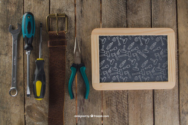 Chalkboard, belt and tools Free Psd. See more inspiration related to Mockup, Wood, Man, Chalkboard, Mock up, Decoration, Tools, Father, Wrench, Up, Male, Belt, Screwdriver, Composition, Mock, Pliers and Masculine on Freepik.