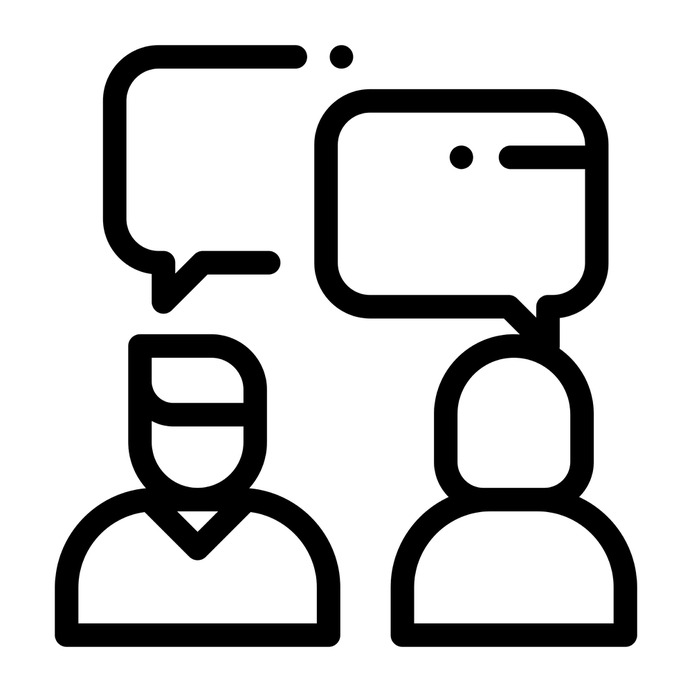 See more icon inspiration related to interview, human resources, reunion, users, communications, meeting, business and application on Flaticon.
