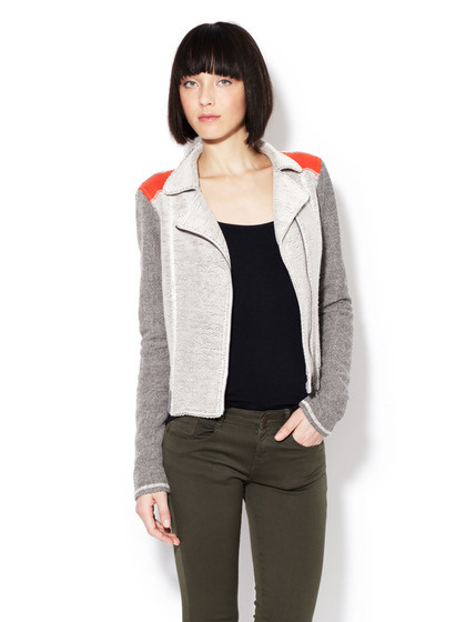 Reverse French Terry Moto Jacket #jacket #gilt #red #grey