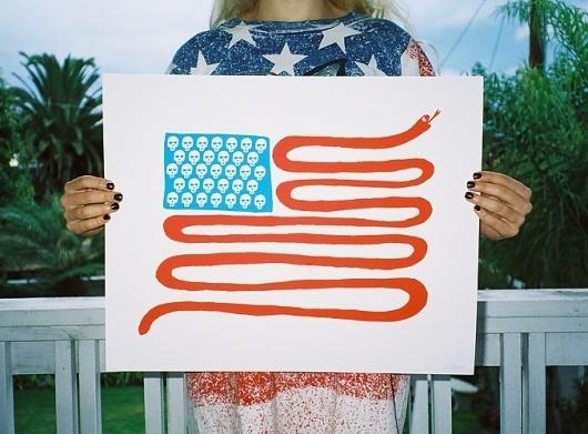 works : ASHKAHN Studio + Company #america #white #red #flag #snake #blue