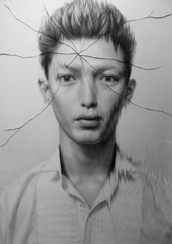 taisuke mohri: cracked portraits #white #drawing #black #and #cracked #pencil