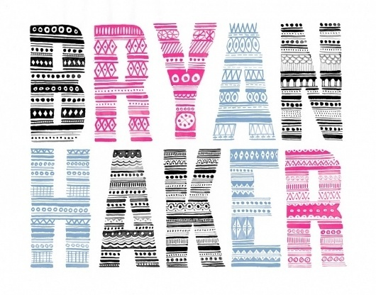 Friends of Type page 4 #pattern #pink #black #illustration #type #blue