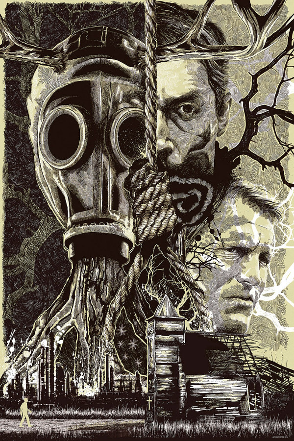 pulp flesh — folkhorror: True Detective poster art by Anthony Petri #detective #horror #illustration #etching #poster #hanging #crime