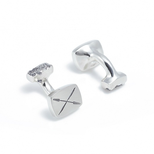 Ivy Noir / Silver Cufflinks — SMITH/GREY Jewellery Design Studio #silver #smithgrey #noir #latin #cufflinks #ivy #oars
