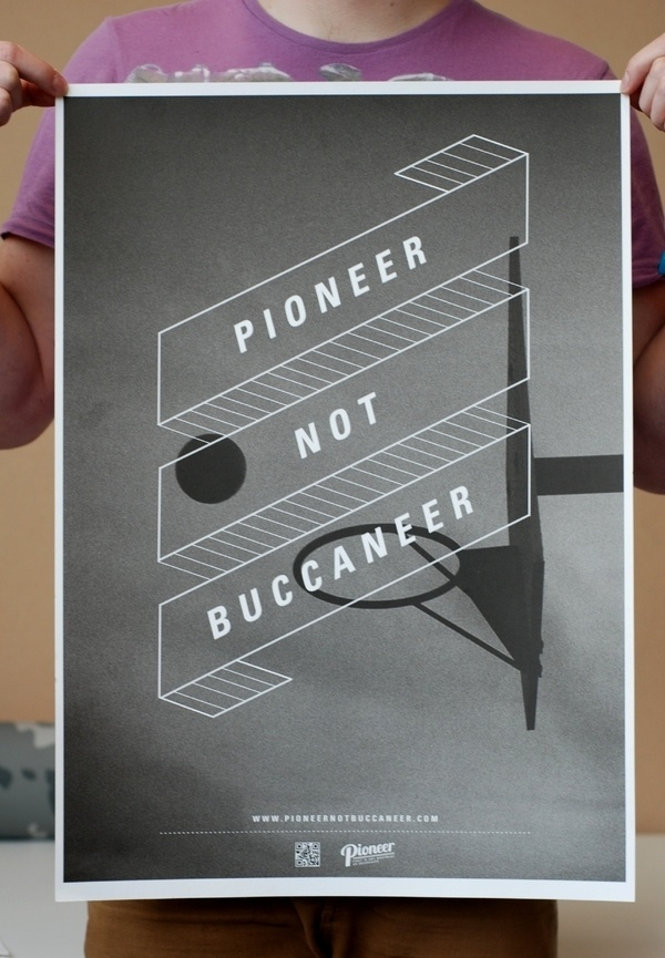 Pioneer not Buccaneer on the Behance Network #banner #white #sport #and #piracy #black #grain #poster #film #type #basketball