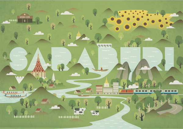 Guide to Saraburi on Illustration Served #illustration #map
