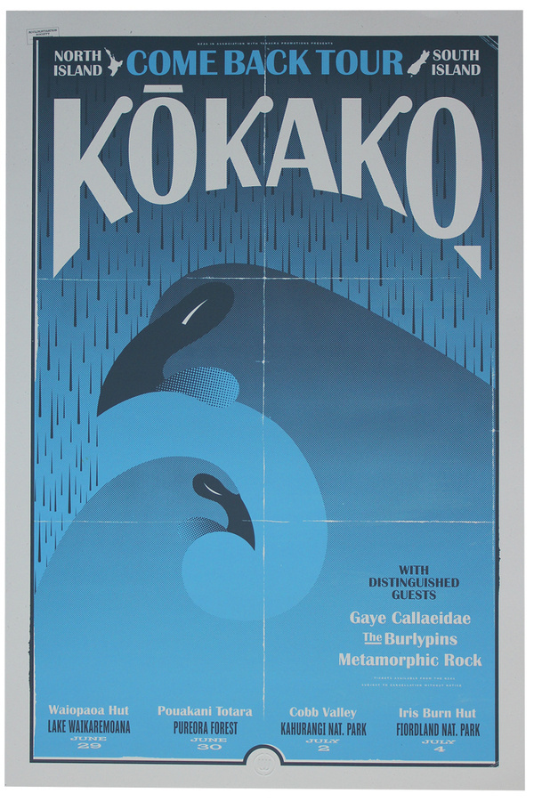 Kokako Come Back – Walter Hansen #zealand #design #screenprint #bird #poster #new