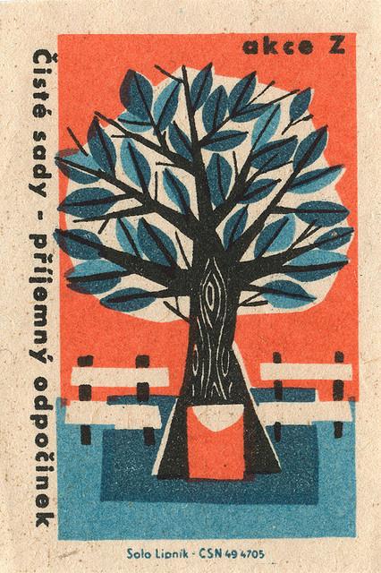 czechoslovakian matchbox label | Flickr - Photo Sharing! #matchbox #illustration #tree #label