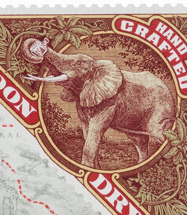 Elephant Gin packaging design #packaging #drink #africa #design #label #elephant #gin #illustration #art