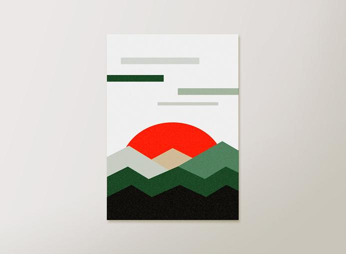 Abstract print by lautstarke studiowww.facebook.com/lautstarkestudio #sun #vector #design #graphic #geometric #colour #minimal #art #poster #mountains
