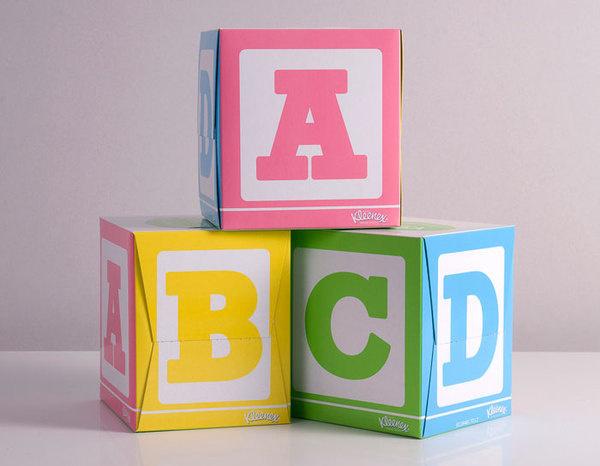 Kleenex Tissues, Kids cube - Buddy Creative #cubes #packaging #kid #alphabet #kids #abc #kleenex #tissues