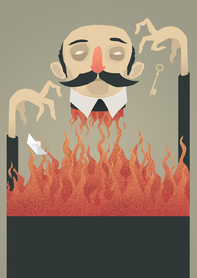 Simon Schacht #sorcery #horror #illustration #magician #fire #key #hands #wizard
