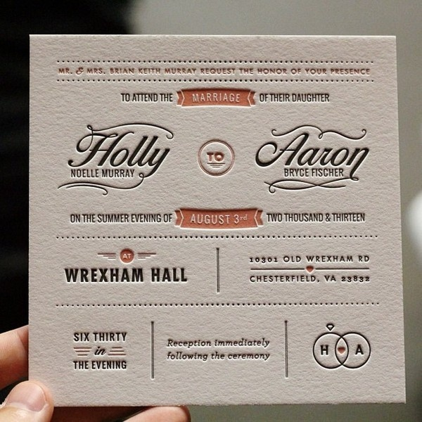 via Mama's Sauce #lettering #printmaking #invitation #letterpress #wedding #typography