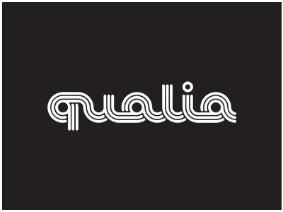 Qualia Logo White Retro 78 1970s Custom Font Lettering