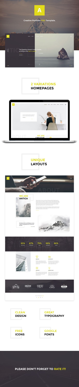 Antica — Multipurpose Business Agency & Personal Portfolio PSD Template by torbara