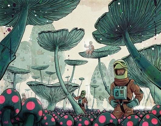 Printfolio - art prints from Poland — Mushroomplanet #drawing
