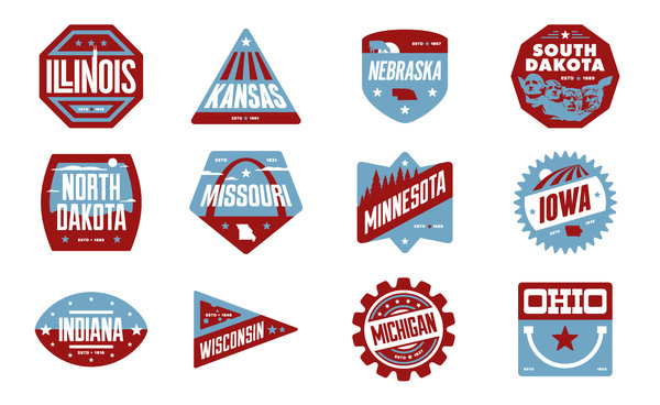 Midwest Badges #states #kansas #iowa #america #indiana #michigan #chris #ohio #rushing #missouri #minnesota #north #south #illinois #wisconsin #badges #usa #dakota #nebraska